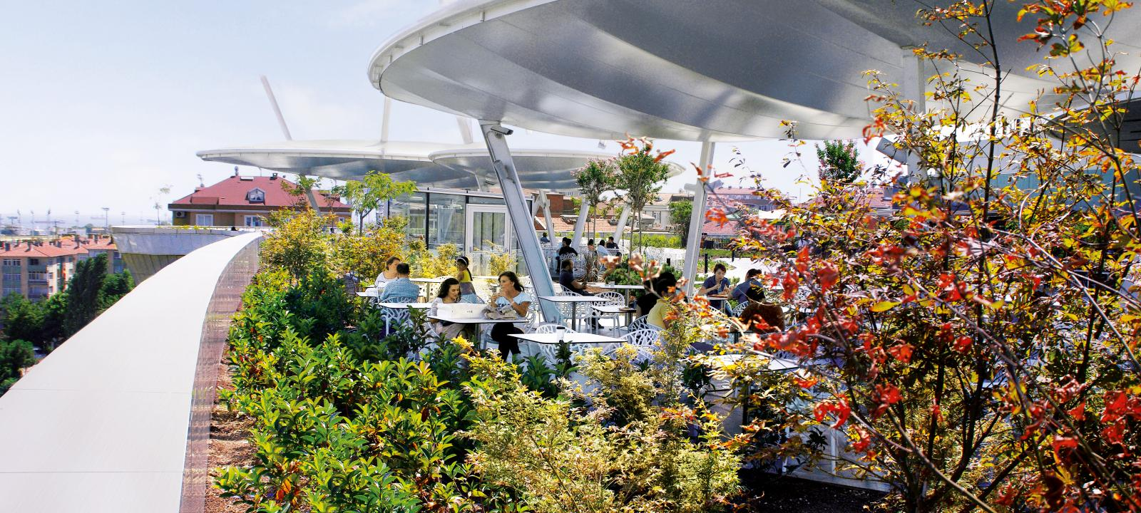 Roof garden with a cafe
